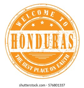 "grunge stamp ""welcome to Honduras, the best place on Earth"", vector illustration"