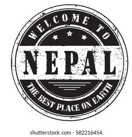 """grunge stamp """"welcome to Nepal, the best place on Earth"""", vector illustration"""