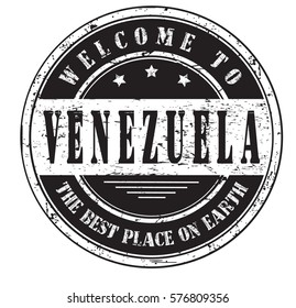 """grunge stamp """"welcome to Venezuela, the best place on Earth"""", vector illustration"""