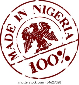Grunge stamp with words Made in Nigeria 100%