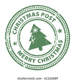 Grunge stamp with Xmas Tree and the text Christmas Post and Merry Christmas written inside the stamp