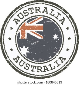 Grunge stamp-Australian flag in the middle