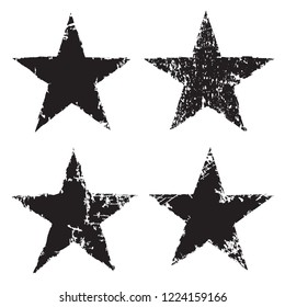 Grunge star icons.Vector distress stars.Vintage design elements.