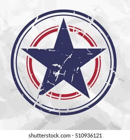 Grunge star on crumpled paper