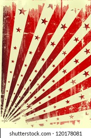 Grunge star and sunbeams. A vintage dirty background for a poster