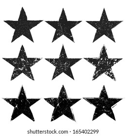 Grunge stars collection. vector illustration