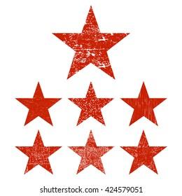 Grunge stars. Set of red grunge star. Vector illustration.
