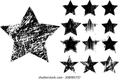 Grunge stars vector , Textured shape
