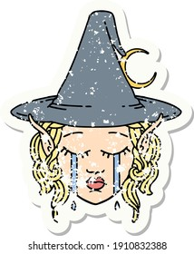 grunge sticker of a crying elf mage character face