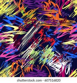 Grunge striped irregular chaotic colorful seamless pattern