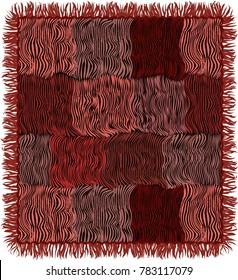 Grunge striped quilted carpet with fringe in brown,pink,violet,black colors isolated on white