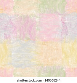 Grunge striped wavy quilt seamless pattern in pastel colors