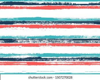 Grunge stripes seamless vector background pattern. Ink paint lines textured background. Dry paintbrush stripes grunge backdrop print design. Simple backdrop grafitti. Original decor lines pattern.
