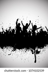 Grunge style audience with silhouette of party crowd and splats and drips
