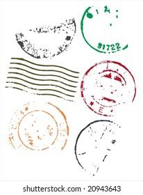 Grunge style blank postmarks frames - vector