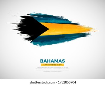 Grunge style brush painted Bahamas country flag illustration with Independence day typography. Artistic watercolor brush flag vector