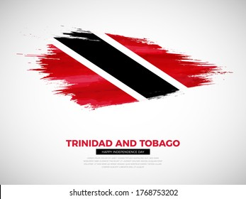 Grunge style brush painted Trinidad and Tobago country flag illustration with Independence day typography. Artistic watercolor brush flag vector