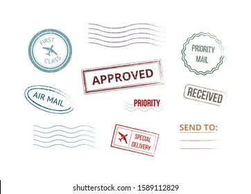 Grunge style colorful postmarks stamps set of realistic vector illustrations isolated on white background. Retro letters, parcels and post mailing symbols collection.