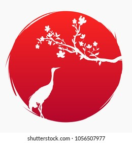 Grunge style flag of Japan. A branch with sakura flowers and a Japanese crane on the background of the red sun. Sakura and Red - crowned crane. Grus japonensis. Vector. T-shirt print. Spring.