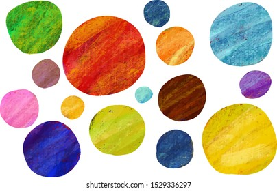 Grunge style handwritten colorful dots