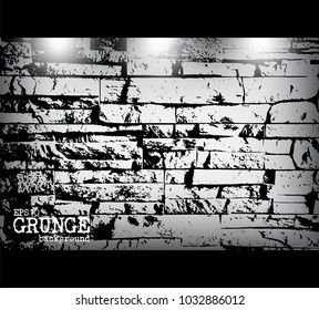 Grunge style of modern brick wall texture and light . Vector .
