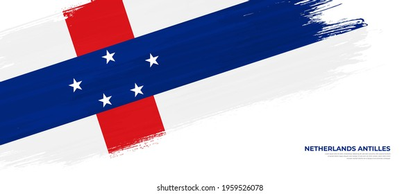 Grunge style Netherlands Antilles flag with hand drawn brush stroke vector illustration