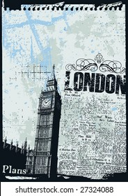 Grunge style news print layout of London's Big Ben Clock