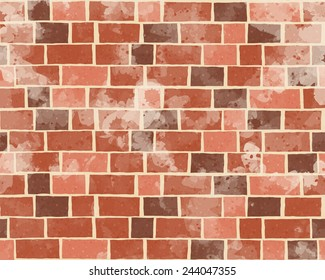 grunge style red brick wall textured pattern background, cartoon style vector art illustration.