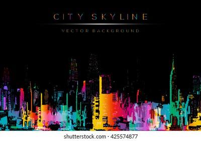 Grunge style vector art, colorful city night skyline illustration. Horizontal banner on black background.
