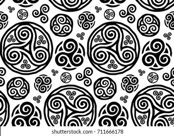 Grunge style vector hand drawn triskels seamless pattern