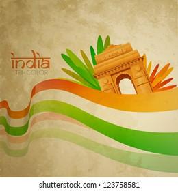 grunge style vector indian flag design