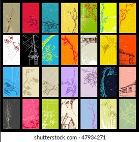 Grunge style vertical business cards: buildings, trees, floral, abstracts