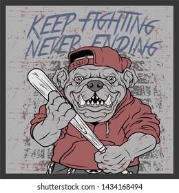 grunge style vintage bulldog handling baseball bats and wearing cap hand drawing vector