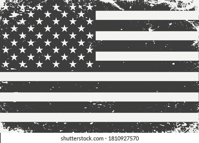 Grunge styled black and white United States flag.