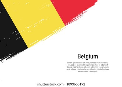 Grunge styled brush stroke background with flag of Belgium. Template for banner or poster.