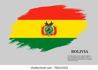 Grunge styled flag of Bolivia. Brush stroke background