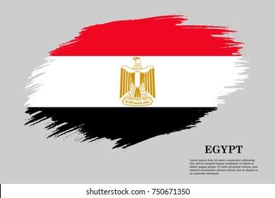 Grunge styled flag of Egypt. Brush stroke background