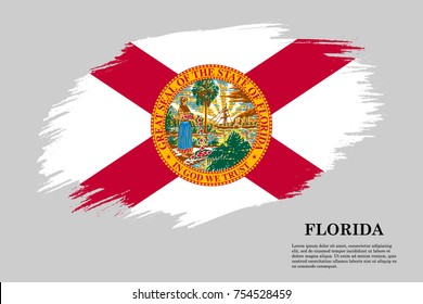 Grunge styled flag of Florida is a state of USA. Template for banner or poster. vector illustration
