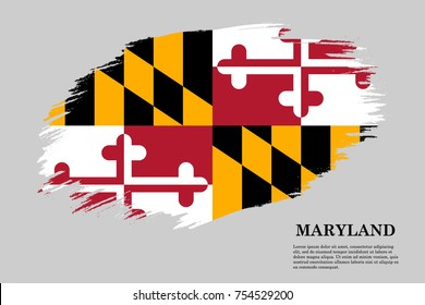 Grunge styled flag of Maryland is a state of USA. Template for banner or poster. vector illustration
