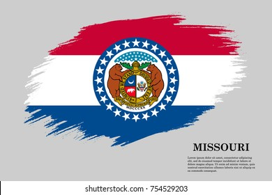 Grunge styled flag of Missouri is a state of USA. Template for banner or poster. vector illustration