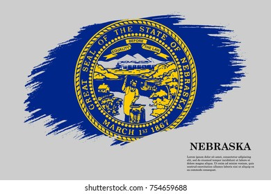 Grunge styled flag of Nebraska is a state of USA. Template for banner or poster. vector illustration