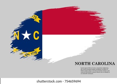 Grunge styled flag of North Carolina is a state of USA. Template for banner or poster. vector illustration