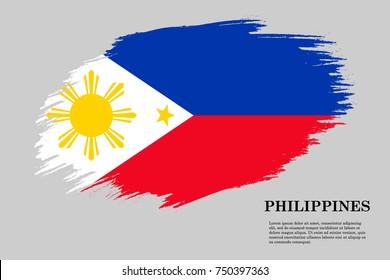 Grunge styled flag of Philippines. Brush stroke background