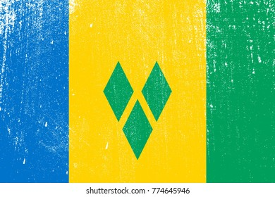 grunge styled flag of Saint Vincent and the Grenadines