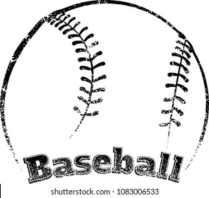 Grunge stylized line design of a  baseball with block letter text of the word football underneath.