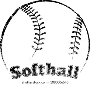 Grunge stylized line design of a softball with block letter text of the word football underneath.