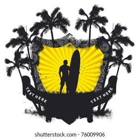 grunge summer shield with surfer and palms