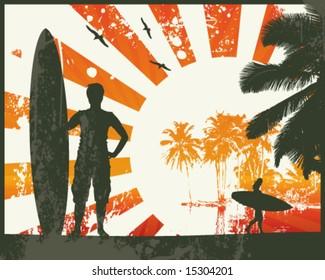 Grunge Summer Surfer Sunset Vector Illustration