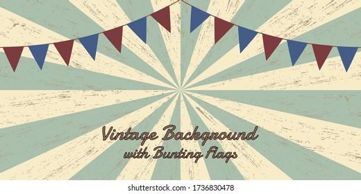 Grunge Sunburst Vintage Background with Bunting Flags