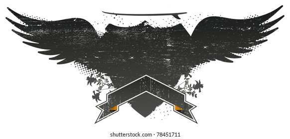 grunge surf shield with wings and table